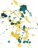 Respingo verde e amarelo do fundo da aguarela Imagens de Stock