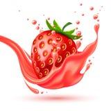 Respingo vermelho realístico do suco da morango do vetor Fotografia de Stock Royalty Free
