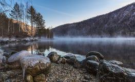 Respiração do inverno do Rio Ienissei Imagem de Stock Royalty Free