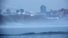Respiração Siberian severa da cidade vídeos de arquivo