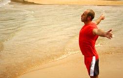 Respirando nella spiaggia Fotografia Stock Libera da Diritti