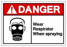 Respirateur d'usage de danger en pulvérisant le signe de symbole, illustration de vecteur, isolat sur le label blanc de fond EPS1 illustration libre de droits