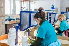 Respirator design and manufacturing factory stock photo