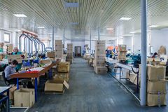 Respirator design and manufacturing factory royalty free stock photography