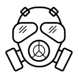 Respirator gas mask icon. Simple illustration of respirator gas stock illustration