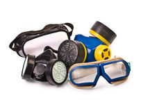 Respirators and Protective Goggles. Isolated on white Royalty Free Stock Photos
