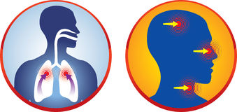 Respiratory. Problems, pain and therapy Stock Photos