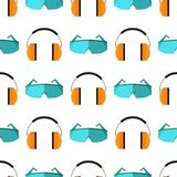 Respiratory protection mask seamless pattern background vector illustration protection tool industry safety binoculars. Respiratory protection mask vector Royalty Free Stock Photo