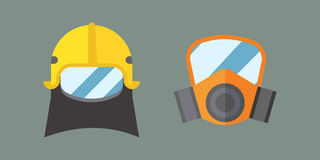 Respiratory protection mask vector illustration protection tool industry safety for human organs. Stock Photography