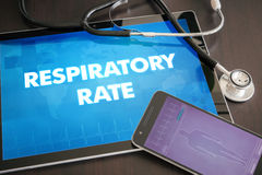 Respiratory rate (cardiology related) diagnosis medical concept. On tablet screen with stethoscope Stock Photos
