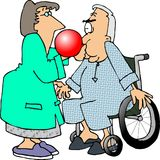 Respiratory Therapy. This illustration that I created depicts a man in a wheelchair blowing up a balloon being held by a woman therapist Stock Photos