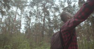 Respirazione sana in foresta stock footage