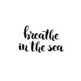 Respire en el mar - dé el vector exhausto de las letras ilustración del vector