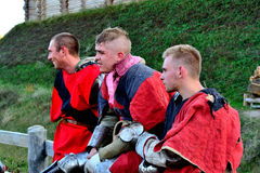 Respite between battles. International Championship on the historical medieval battle Call of heroes. It passes near Kiev, in the village of Kopachev, Ukraine Stock Images