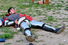 Respite between battles. International Championship on the historical medieval battle Call of heroes. It passes near Kiev, in the village of Kopachev, Ukraine Stock Photo