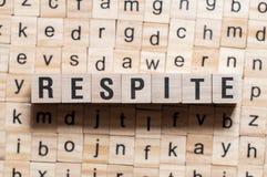 Respite word concept stock image