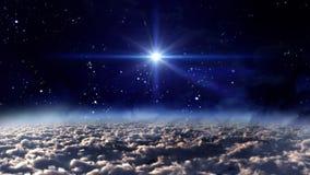 Resplandor de la estrella de la noche del espacio