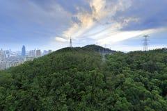 Resplandor de la puesta del sol de la colina xianyueshan Fotos de archivo