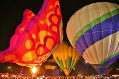 Resplandor de los globos del aire caliente Fotografía de archivo