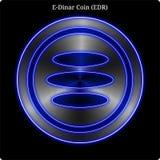 Resplandor de neón azul del witn de la moneda de la moneda EDR del E-dinar del metal stock de ilustración