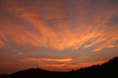 Resplandor de tarde de la puesta del sol Foto de archivo libre de regalías