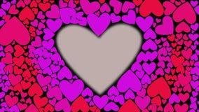 Resplandor del corazón y color rojos del cambio de rosado a la lila con las ondas del cnter a externo Animación de la forma del c stock de ilustración