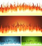 Resplandor, fuego ardiente y llamas fijados Foto de archivo libre de regalías