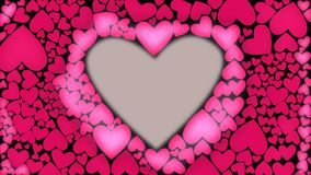 Resplandor rojo del corazón con las ondas del cnter a externo Animación de la forma del corazón Ondas ligeras del corazón rosado  stock de ilustración