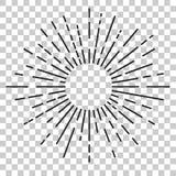 Resplandor solar grande, esquina redondeada, en el fondo transparente del efecto ilustración del vector