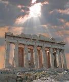 Resplandor solar sobre la acrópolis Fotografía de archivo libre de regalías
