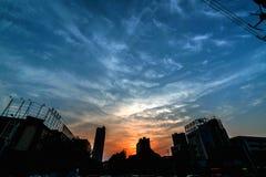 Resplandor urbano de la puesta del sol Imagen de archivo libre de regalías