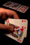 Resplendor real com corações em Texas Holdem Foto de Stock Royalty Free