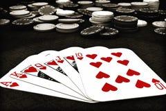 Resplendor real do terno do póquer dos corações Imagens de Stock Royalty Free