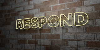 RESPOND - Glowing Neon Sign on stonework wall - 3D rendered royalty free stock illustration Royalty Free Stock Image