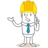 Responsabile della costruzione dell'architetto del fumetto che indica e che spiega Fotografia Stock