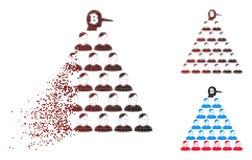 Responsabile di semitono di disintegrazione Icon della piramide di Pixelated Bitcoin Ponzi Illustrazione Vettoriale