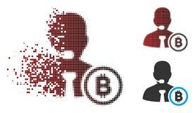 Responsabile di semitono Icon dell'operatore di Bitcoin del pixel commovente Immagine Stock