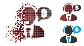 Responsabile di semitono Message Icon di Bitcoin del pixel della polvere Immagine Stock