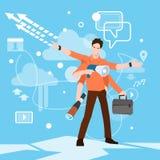 Responsabile a funzioni multiple occupato Business Man With molte mani Immagini Stock