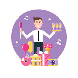 Responsabile Surrounded di evento dagli oggetti del partito e di evento Gestione di evento ed illustrazione dell'agenzia di event Immagine Stock Libera da Diritti