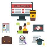 Responsabile umano di riunione del lavoro di occupazione di assunzione del computer dell'icona di ricerca di lavoro di vettore di illustrazione di stock