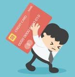 Responsabilidad del préstamo de Credit Cards del hombre de negocios illu del valor de propiedades inmobiliarias Foto de archivo libre de regalías