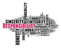 Responsabilidad en nube de la palabra Foto de archivo