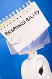 Responsabilidade do trabalho, profissionais do balanço & contra de medição Foto de Stock