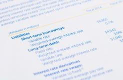 Responsabilidades en el balance Imagen de archivo libre de regalías