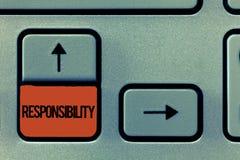 Responsabilité des textes d'écriture Signification de concept ayant le contrôle de quelqu'un acte d'être responsable illustration stock