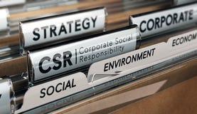 Responsabilité sociale de l'entreprise, stratégie de CSR Photos stock