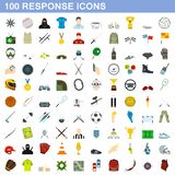 100 response icons set, flat style. 100 response icons set in flat style for any design illustration royalty free illustration