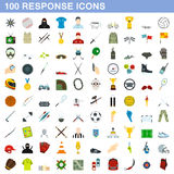 100 response icons set, flat style. 100 response icons set in flat style for any design vector illustration Stock Images