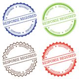 Response required badge isolated on white. Response required badge isolated on white background. Flat style round label with text. Circular emblem vector Stock Photo
